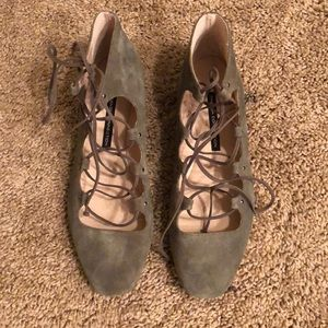Army green lace up flats